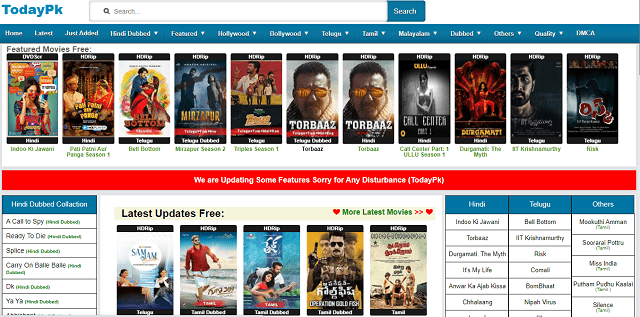 Todaypk Movies- Illegal Torrent Magnet Telugu Movies Download Site Homepage