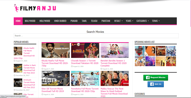 FilmyAnju 2020 -Illegal Website to Download Latest Movies for Free Homepage