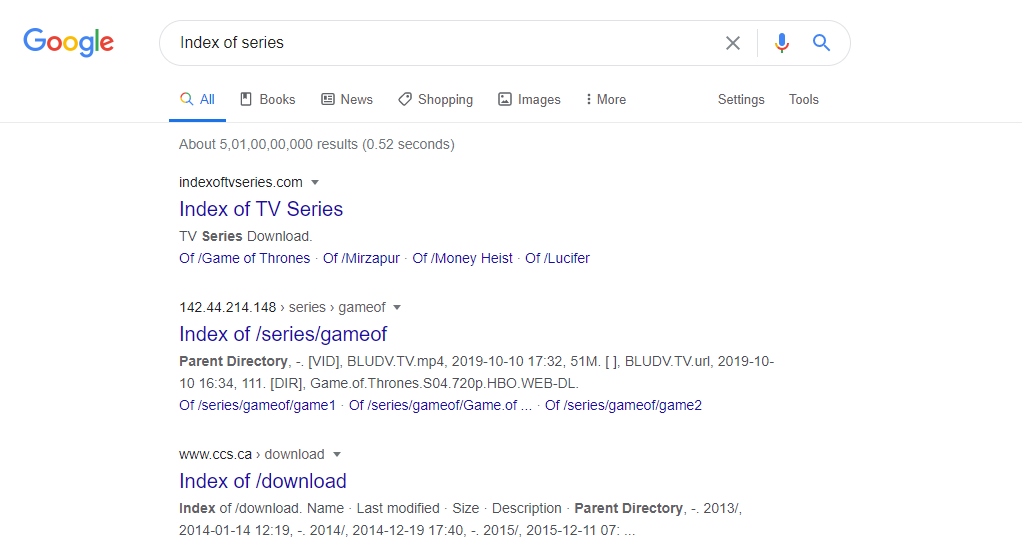 Index of Series and Web series google search results