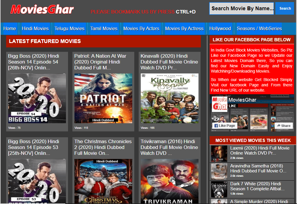 Moviesghar- Watch Movies Online Website Homepage