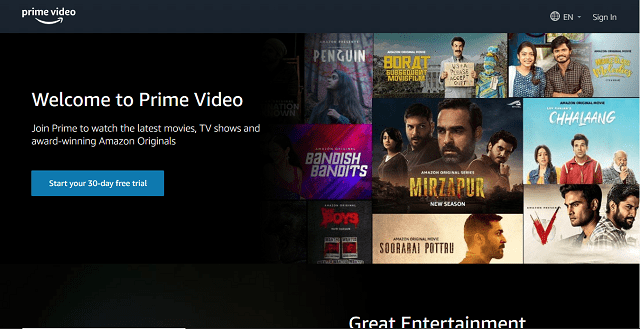 Amazon Prime Videos Homepage