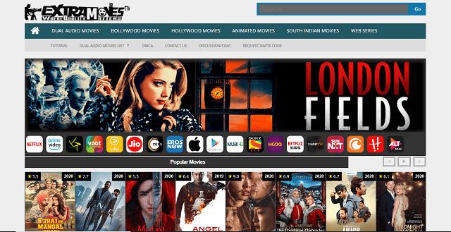 Extramovies website hompage