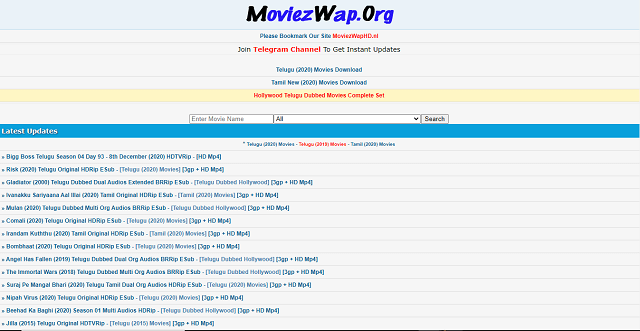 Moviezwap or moviez wap .org website homepage