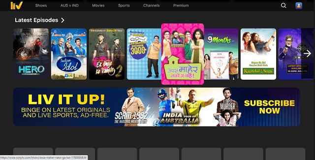 Sony Liv website homepage
