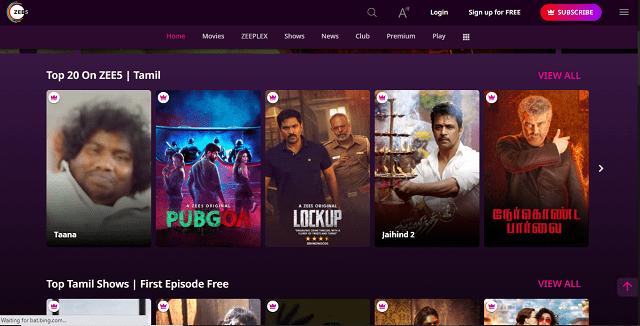 Zee5 Homepage