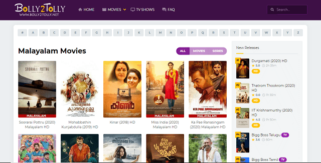 bolly2tolly Malayalam movies webpage