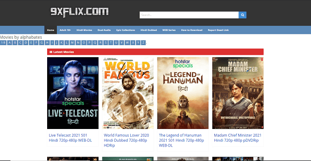 9xflix Hindi Dubbed Movie download HD Website Homepage