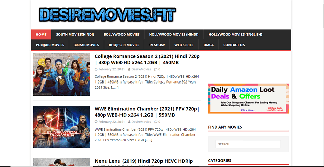 Desiremovies website homepage