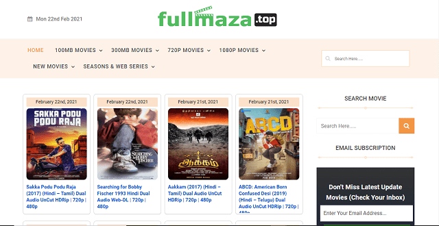 Fullmaza- 100MB Dual audio website homepage