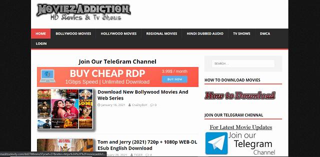 Moviezaddiction or moviez addiction website homepage